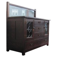 Antique Rare Roycroft Great Sideboard with Leaded Glass & Beveled Glass Mirror w1967