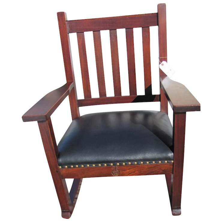Antique Roycroft Large Arm Rocking Chair w1981 This chair sold in our shop  and No longer - Antique Roycroft Large Arm Rocking Chair W1981 This Chair Sold In