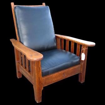 Antique Rare & Large Roycroft Morris Chair  w1985