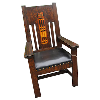Superb Antique Shop of the Crafters Armchair with Inlay  w2028