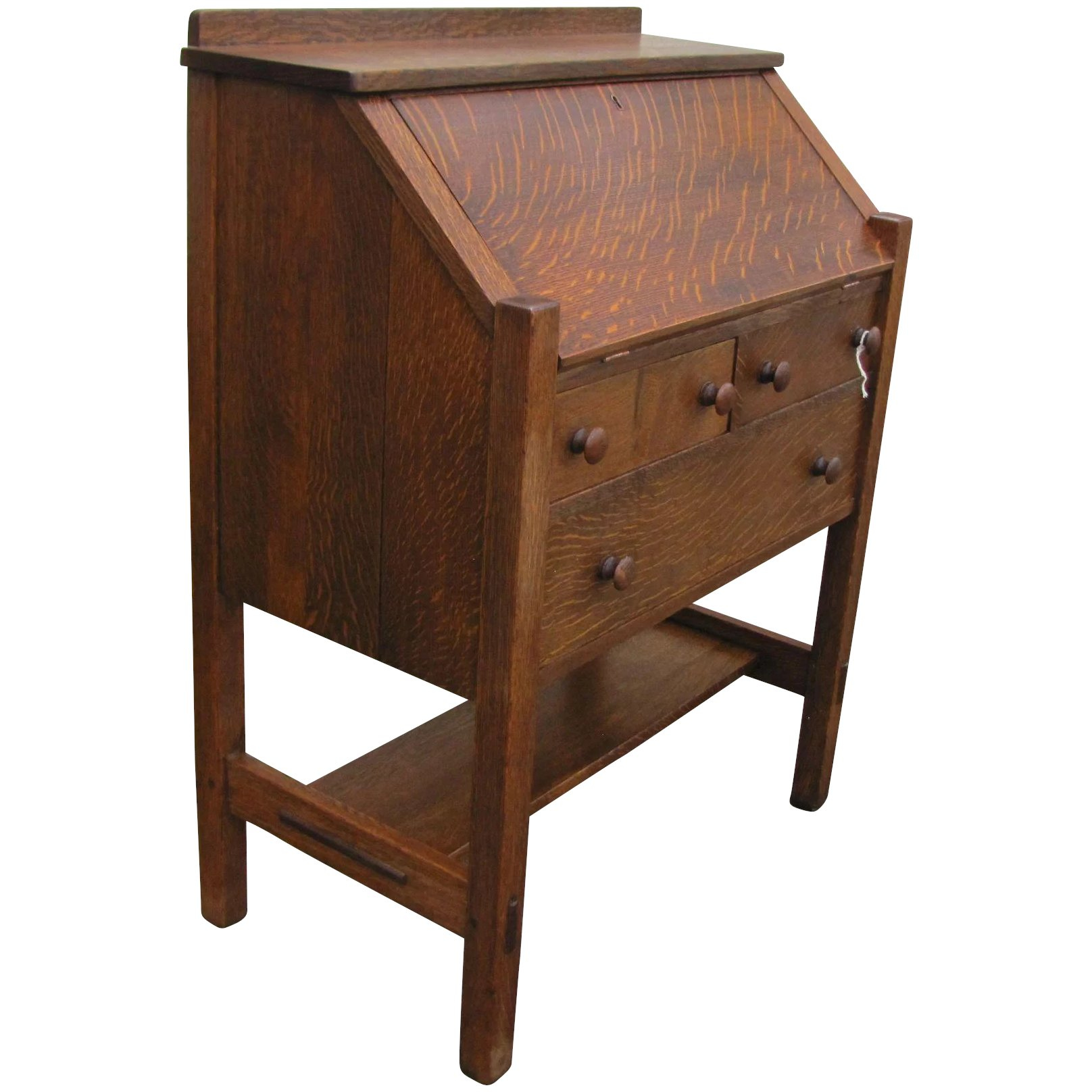 brothers furniture craftsman drawer rare oak desk mission pull front with straps hammered product stickley early drop voorhees and
