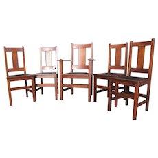 Antique Set of 5 Limbert Dining Chairs  w2221