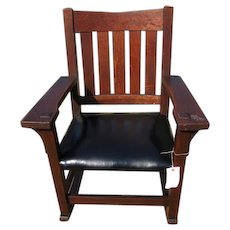Antique Early Gustav Stickley V-Back Arm Rocking Chair  w2227