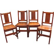 Antique Set of 4 L&jG Stickley Dining Chairs  w2262