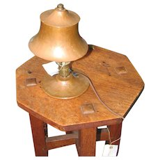 Antique Arts & Crafts Hammered Copper Table Lamp  w2321