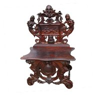 Antique Renaissance Revival Figural Carved Hall Chair  w2336