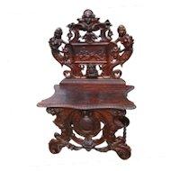 Antique Renaissance Revival Figural Carved Hall Chair  w2336