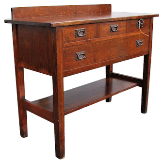 Antique Gustav Stickley Serving Table/ Small Sideboard  w235