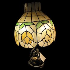 Antique Wrought Iron Arts & Crafts Table Lamp  w2362
