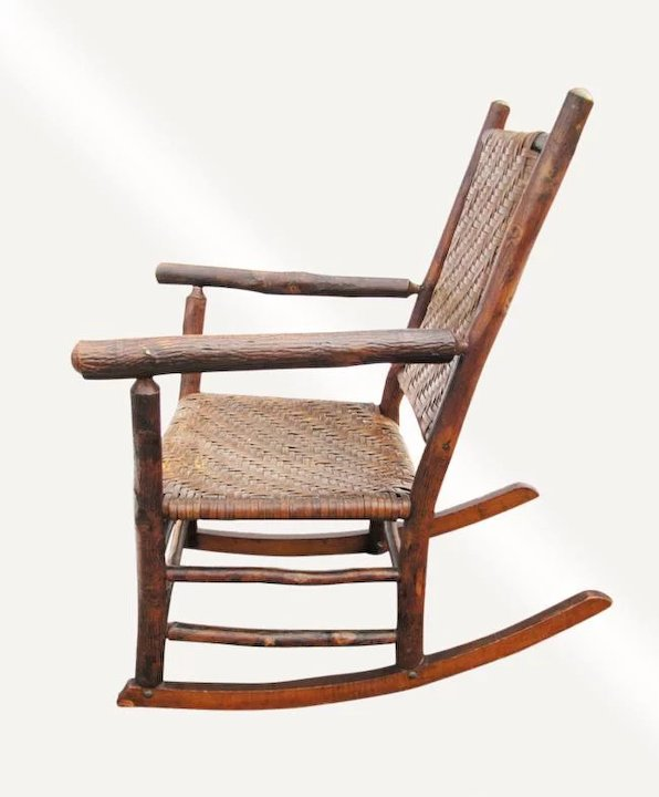 Captivating Antique Old Hickory Rocking Armchair W2369