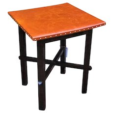 Antique Arts & Crafts Leather Top Table  w2384