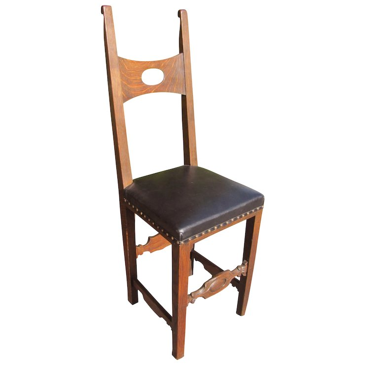 Rare Antique Rose Valley Side Chair w2505 - Rare Antique Rose Valley Side Chair W2505 : Antique Mission