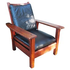 Superb Antique L&jG Stickley Paddle Arm Armchair with Fixed Back w2531