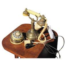 Antique Brass & Bakelite Telephone  w2543