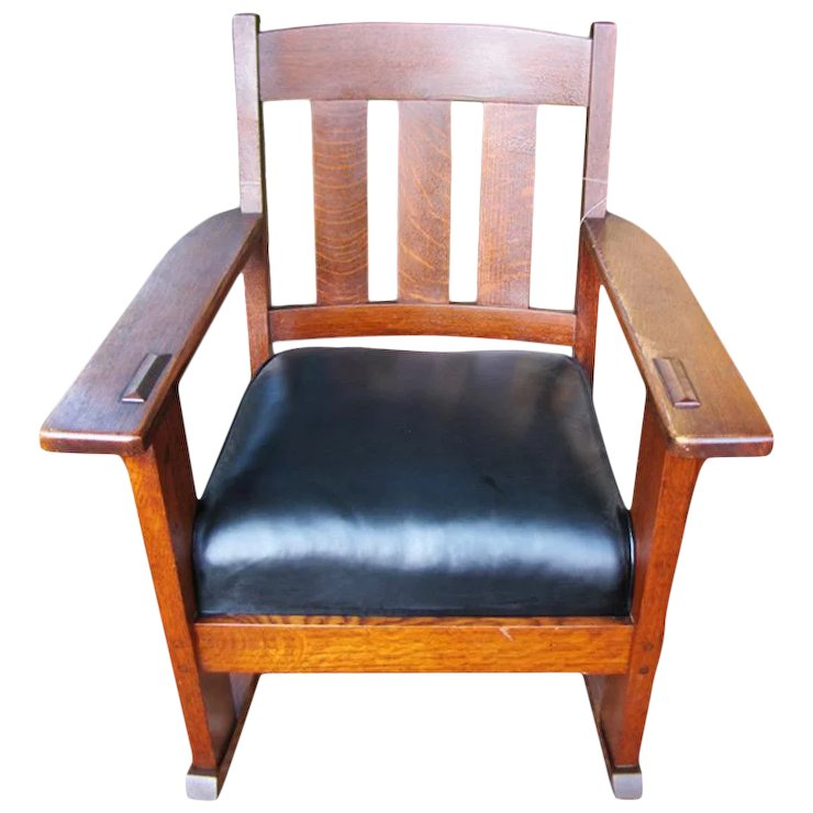 Beautiful Antique Charles Stickley Arm Rocking Chair w2555 - Beautiful Antique Charles Stickley Arm Rocking Chair W2555 : Antique