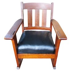 Beautiful Antique Charles Stickley Arm Rocking Chair  w2555