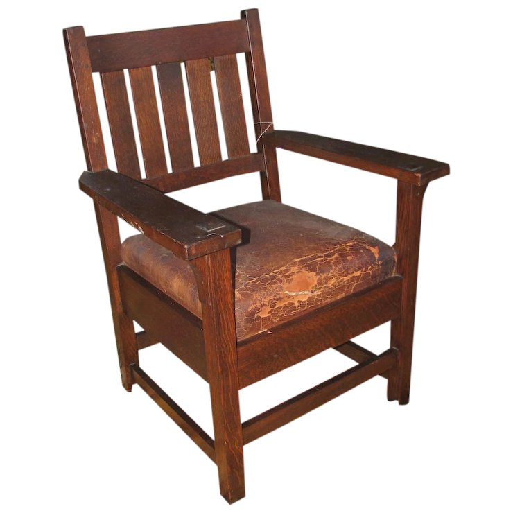 Antique Early Gustav Stickley Arm Chair w2616 : Antique Mission Furniture |  Ruby Lane - Antique Early Gustav Stickley Arm Chair W2616 : Antique Mission