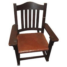 Antique Early L&jG Stickley Onondaga Shop Arm Rocker  w2617