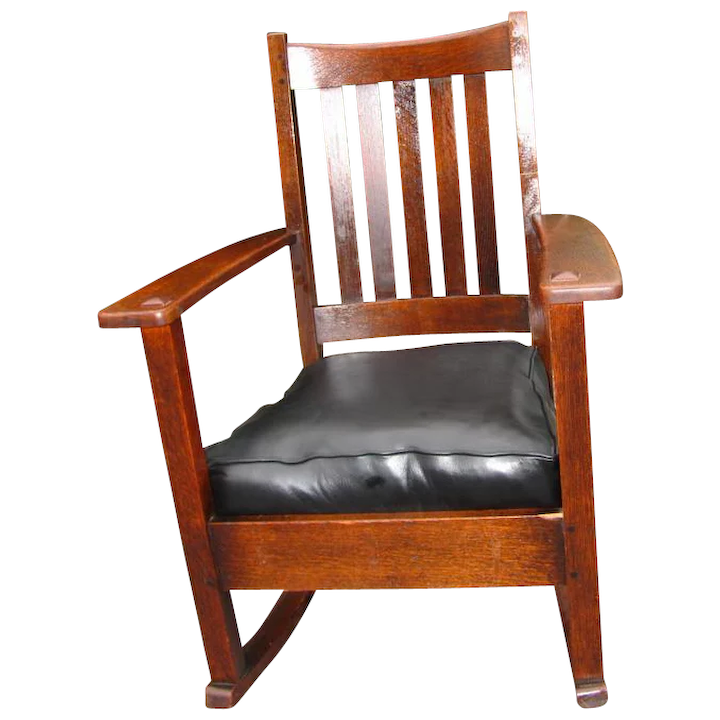 low priced 2da76 00727 Antique Good High Back Limbert Arm Rocking Chair w2698
