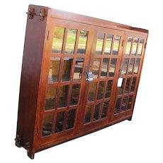 Antique L&jG Stickley Three Door Bookcase w2733
