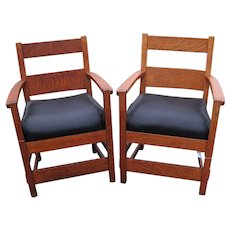 Pair of Superb, Great, & Early Antique Stickley Brothers Armchairs w2824