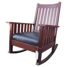 Superb Antique L&jG Stickley Large Rocking Armchair with Slats  w2842