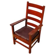 Antique Stickley Brothers Arm Chair with High Back w2872