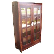 Superb Antique Narrow Gustav Stickley Two Door Bookcase w2940