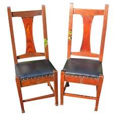 Antique Pair Of Roycroft Tall Back Chairs  w2998