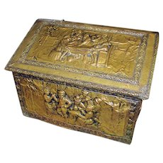 Antique Arts & Crafts Brass Covered Chest w3104