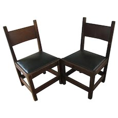 Antique Pair of L&jG Stickley Onondaga Shop Chestnut Chairs  w3188