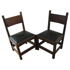 Antique Pair of L&jG Stickley Onondaga Shop Chestnut Chairs  w3188