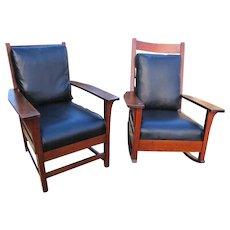Superb Antique L&jG Stickley Pair of Chairs w3220