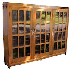 Antique Rare L&jG Stickley Three Door Bookcase  w3227