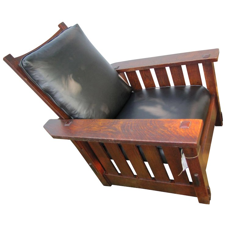 Antique Early Gustav Stickley Morris Chair w3311 - Antique Early Gustav Stickley Morris Chair W3311 : Antique Mission