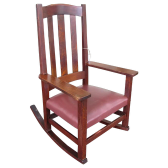 Antique Good Tall-Back Stickley Brothers Arm Rocker  w3342