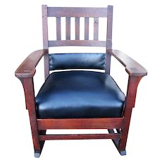 Superb Antique Charles Stickley Rare Arm Rocking Chair  w3354