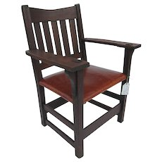 Antique Early Gustav Stickley V Back Armchair w370