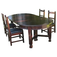 Antique Arts&Crafts Set of 4 Roycroft Chairs & Dining Table w3901 (Stickley Era)