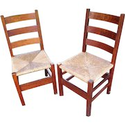 Antique Superb & Early Pair of Gustav Stickley Side Chairs w3926