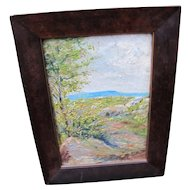 Antique Arts & Crafts Frame with an Impressionist Painting w4051