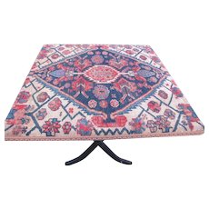 Antique Folding Table with Antique Hamedan Oriental Top Cover  w4066