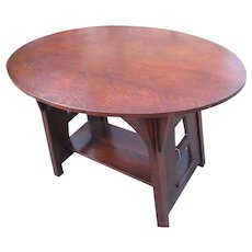Antique Charles Limbert Oval Top Table with Cutouts  w4103