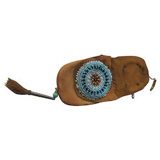 Leather Native American Sioux Indian Small Tobacco Bag  w4254  FREE SHIPPING