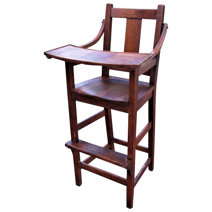 Antique Stickley Brothers High Chair (Child's Chair) w4278 - Antique Stickley Brothers High Chair (Child's Chair) W4278 : Antique