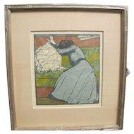 Superb Antique Arts & Crafts Max Kurzwell Wood Block  w4296