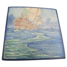 """Antique Marble Head Tile """"Ship""""  w4313"""