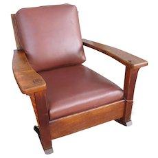 Antique Charles Limbert Large Arm Rocking Chair  w4361