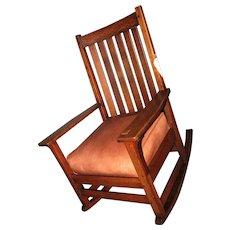 Antique Tall Back L&jG Stickley Rocking Arm Chair  w4367