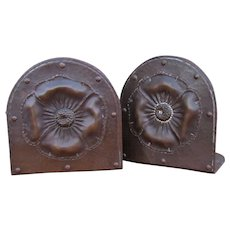 "Pair of Important Large ""Roycroft"" Bookends with Poppy Flower Design  w4416"